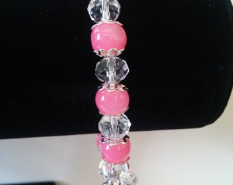 Pink Glass Beaded Bracelet