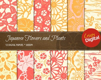 Japanese Flowers and Plants Vol. 3 Digital Papers 12pcs 300dpi Digital Download Collage Sheets Asian Scrapbooking Printable Paper