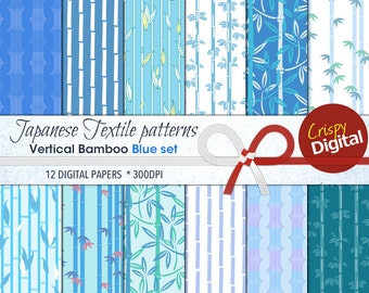 Bamboo Digital Paper Japanese Pattern in Vertical Blues and Greens 12pcs 300dpi Instant Download Collage Sheets Scrapbooking Printable