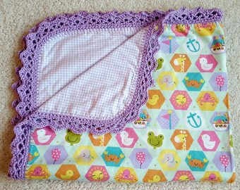 Handmade double layer cotton flannel baby blanket with hand crocheted edging/girl baby blanket/flannel baby blanket/handmade baby blanket/