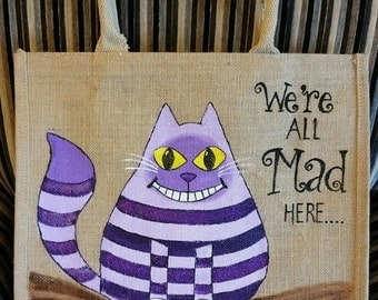 Cheshire Cat - Reusable Jute bag, environmentally friendly