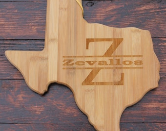 Texas Shaped Cutting Board - Personalized