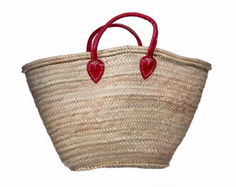 Handmade Moroccan Market Basket, Minimalistic Classic Red Leather Straps