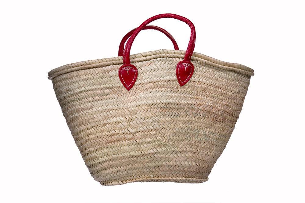 Handmade Market Baskets : Handmade moroccan market basket minimalistic classic red