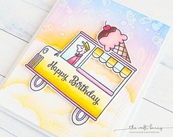 Ice Cream Car Birthday Card