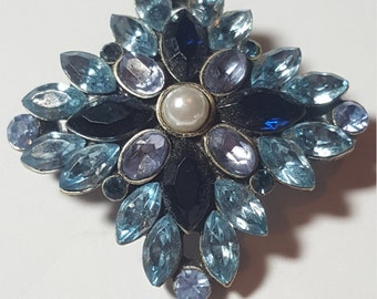 Vintage Rhinestone Pin Brooch Royal Blue and Light Blue with a touch of Light purple