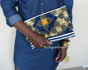 Mixed Print clutch- Foldover Zipper Clutch- Multicolored Print clutch- Clutch Purse bag- Handmade clutch