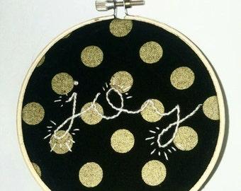 Joy Black and Gold Polka-Dot Hoop Art Embroidery Wall Art