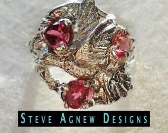 Three Pink Tourmalines in Hummingbird Design Ring