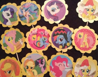 12 My Little Pony cupcake toppers