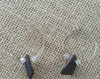 Natural Olive Green Sea Glass Hoop Earrings