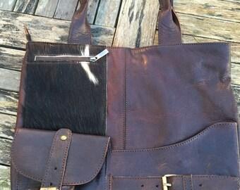 Goat skin detailed Moroccan leather handbag 2
