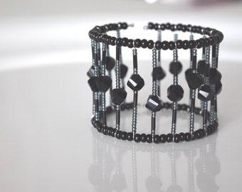 Bracelet, Cuff Bracelet, cuff Bracelet black Bracelet, wrist adornment, glass beads, handmade, minimalist, Chic, gift