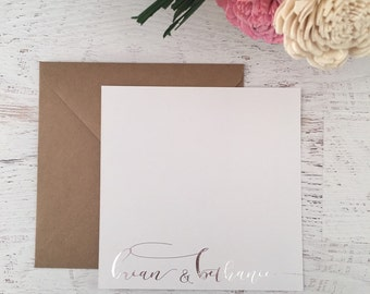 Silver Script Stationery, Personalized Stationary, Calligraphy Style Cards, Personalized Notecard, Custom Stationery, Silver Foil Stationey