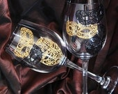 Set of 2 Wine Glasses Wedding wine glasses Black and gold mask  Hand Painted Glasses Wine or Champagne Gifts for couple Tosting glasses