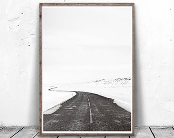 Black and White Photography, Winter Photography, Winter Snow Print, Road Print, Modern Minimalist, Zen Art, Minimalist Photography