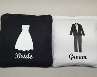 8 Bride & Groom Wedding Dress and Tuxedo Cornhole Bags (8 per set)