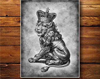 Lion Print, Animal illustration, Ancient Poster, Antique Paper, Vintage Print, Wall Art, Wall Hanging, Old decoration BW146