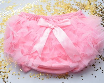 So Soft Cotton Bloomer Diaper Cover with Chiffon Ruffles and Bow - Shabby Chic Light Pink