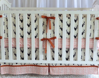 3 piece set -1 black antlers bedding set, modern nursery,bumpers, skirt, fitted sheet
