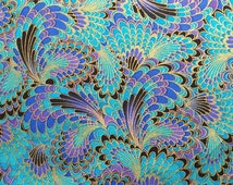 Japanese Peacock Blue Fabric with Golden Liner, Teal / Jewel Tone