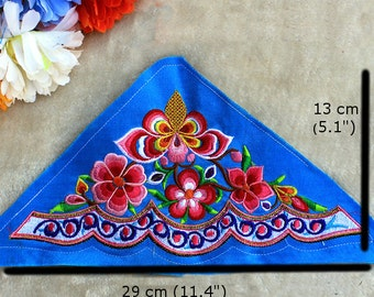Ethnic Embroidered Fabric Piece, Triangle Embroidered Applique - Blue and Pink Floral Pattern