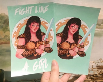 SALE!! Postcard-Size Prints Xena Warrior Princess Fight Like A Girl SINGLE POSTCARD sized print