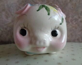 Vintage Kitsch retro cute little big eyed piggy bank/money box