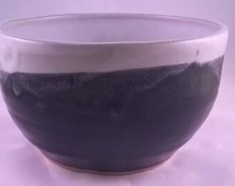 Medium White and Black Ceramic Bowl