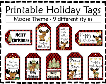 Printable Gift Tags - Holiday Gift Tags - Moose Tags