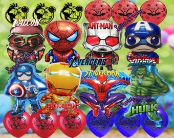 20 Pack Latex & Foil Marvel Captain America Hulk Iron man Avengers Antman falcon Birthday Party Balloon Supply Super Hero Decor