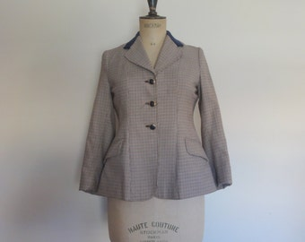 Vintage 70s tweed blazer riding jacket English navy tan cream with velvet collar - size S