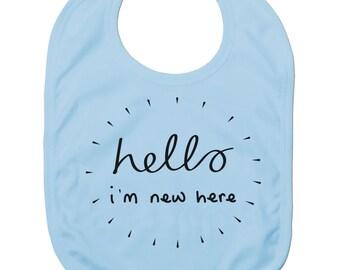 Funny Baby Bibs for Baby Boy Baby Girl Dribble Bib Feeding Bib Hello I'm New Here Baby Gift