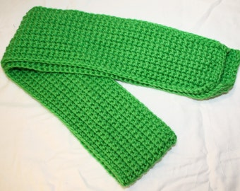 Small Green Crochet Scarf, Children's Crochet Scarf, St. Patrick's Day Scarf, Short Green Scarf, Kid's Crochet Scarf, Kid's Green Scarf