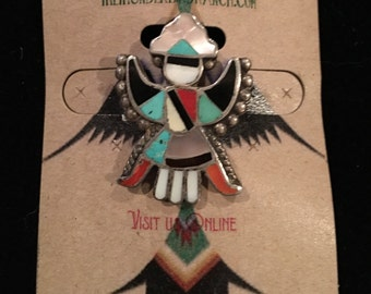 Vintage Zuni Sterling Turquoise Inlay Knifewing Traditional Pin