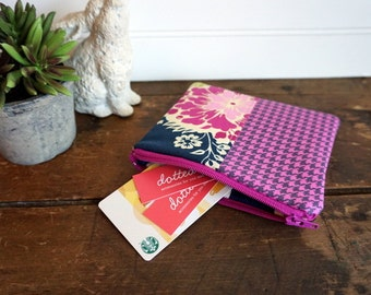 Zipper Bag - Small Coin Purse, Credit Card or Gift Card Holder, Navy, Fushia, Lime Flowers and Checks