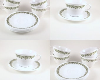 VIntage Corelle Cups & Saucers, Spring Blossom, Crazy Daisy, Green and White Coffee Cups with Saucers