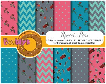 Romantic Paris Scrapbook Paper Pack - Set of 12 Digital Papers - Instant Download
