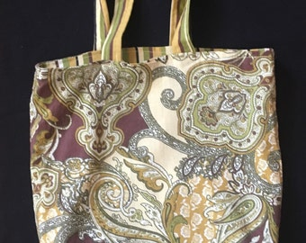 Paisley and Striped Reversible Tote