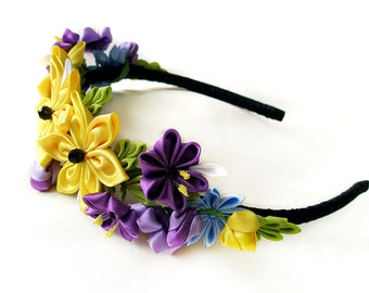 Summer party Gift|for|her Yellow flower headpiece Kanzashi Black purple hair floral accessory Rustic wedding crown Bridal fabric flowers