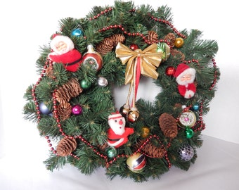 vintage Christmas wreath, vintage Christmas decor, 16 inch diameter, Holiday wreath