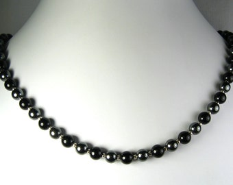 Black Onyx and Hematite Necklace Silver or Gold 18""
