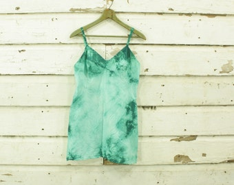 vintage hand dyed green ultra mini slip dress gown M 36