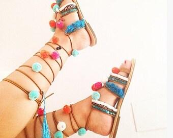 Sandals boho pompom