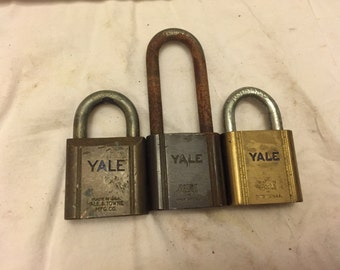 Lot of 3 vintage Yale brass Padlocks