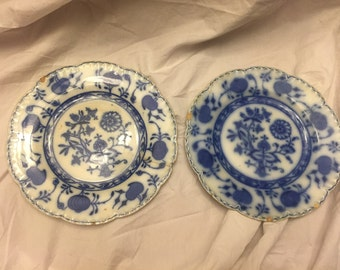Pair of Very early Johnson brothers Holland flow blue plates blue transferware