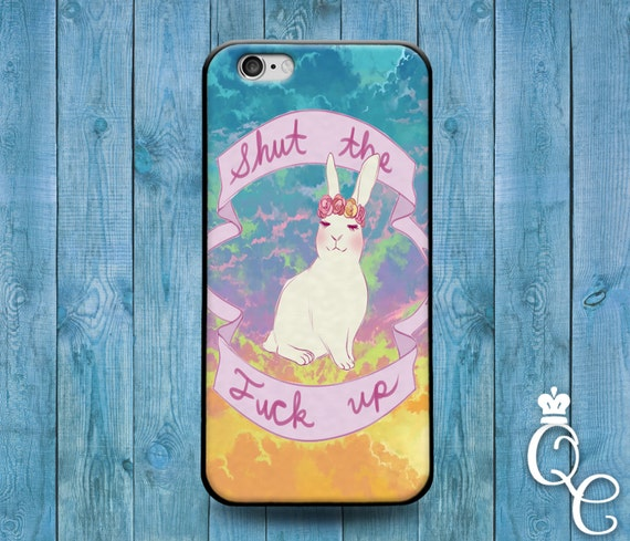 iPhone 4 4s 5 5s 5c SE 6 6s 7 plus iPod Touch 4th 5th 6th Gen Cute Custom White Easter Shut Up Bunny Quote Phone Cover Funny Animal Case
