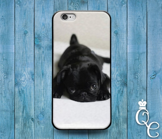 iPhone 4 4s 5 5s 5c SE 6 6s plus iPod Touch 4th 5th 6th Gen Cover Case Black Puppy Bulldog Dog Pug Pup Cute Funny Animal Baby Cool Rubber