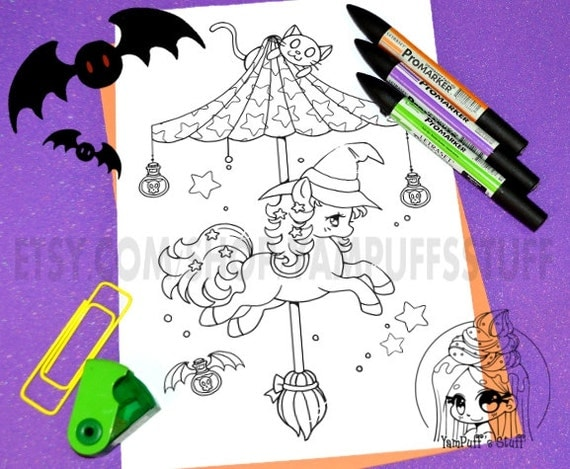 Halloween Carousel - Witch Pony - Clip Art - Digital Stamp