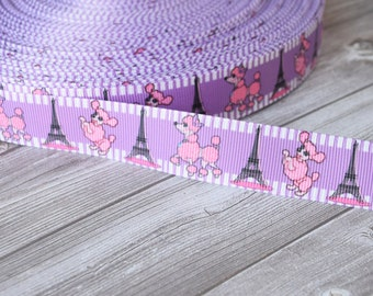 Paris poodle ribbon - 3 or 5 yards - Purple and pink ribbon - Eifle tower ribbon - Pretty poodle crafts - DIY hair bows - Cute ribbon